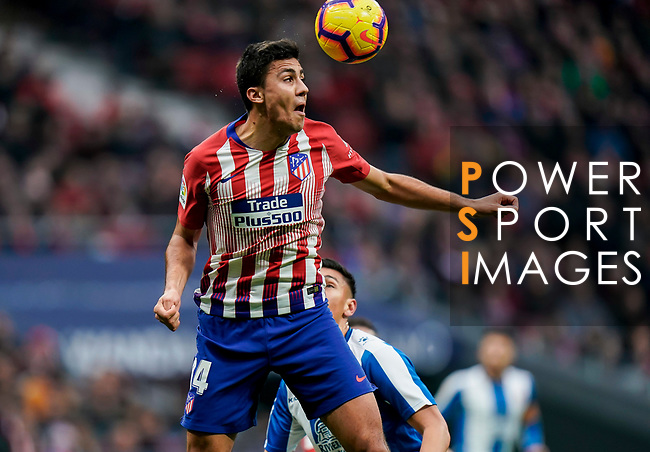 Rodrigo Cascante of Atletico de Madrid heads the ball during the La Liga 2018-19 match between Atletico de Madrid and RCD Espanyol at Wanda Metropolitano on December 22 2018 in Madrid, Spain. Photo by Diego Souto / Power Sport Images