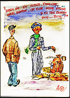 BNPS.co.uk (01202 558833)<br /> Pic:   LionHeartAutographs/BNPS<br /> <br /> A humorous watercolor cartoon of an airman speaking with a German asking for assistance.<br /> <br /> A remarkable diary kept by a POW in the Great Escape camp which includes a tribute to the 50 men executed in its reprisals has come to light.<br /> <br /> British RAF officer Joseph Gueuffen, of 609 Squadron, was shot down during a bombing raid over Germany and held captive at Stalag Luft III from late 1943 until the end of the war.<br /> <br /> The Belgian born pilot was kept in Block 109, a barrack which played an integral part in the mass escape of prisoners on March 24, 1944.<br /> <br /> The diary boasts a list of the officers executed by the Nazis following their recapture and a drawing of the permanent memorial for them by Belgian RAF pilot Bobby Laumans.