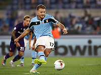 Football, Serie A: S.S. Lazio - Fiorentina, Olympic stadium, Rome, June 27, 2020. <br /> Lazio's Ciro Immobile kicks a penalty and scores during the Italian Serie A football match between S.S. Lazio and Fiorentina at Rome's Olympic stadium, Rome, on June 27, 2020. <br /> UPDATE IMAGES PRESS/Isabella Bonotto