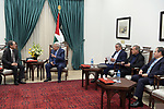 Palestinian President Mahmoud Abbas, meets with Japanese envoy to the peace process in the Middle East, in the West Bank city of Ramallah on February 4, 2020. Photo by Thaer Ganaim