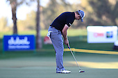 Stephen Gallacher (SCO) sinks his putt to win the tournament by 3 shots with a score  of -22 at the end of Sunday's Final Round of the 2013 Omega Dubai Desert Classic held at the Emirates Golf Club, Dubai, 3rd February 2013..Photo Eoin Clarke/www.golffile.ie