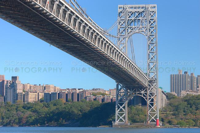 The George Washington Bridge and Jeffrey's Hook Lighthouse on the Hudson River