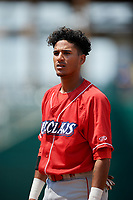 Lakewood BlueClaws second baseman Daniel Brito (21) during a game against the Greensboro Grasshoppers on June 10, 2018 at First National Bank Field in Greensboro, North Carolina.  Lakewood defeated Greensboro 2-0.  (Mike Janes/Four Seam Images)