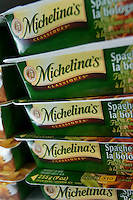 A stack of Michelina's frozen food is seen in a Metro grocery store in Quebec city March 4, 2009. Michelina's is a brand of Bellisio Foods Incorporated