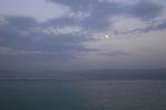 Israel, full moon above the Dead Sea
