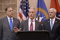 NWA Democrat-Gazette/BEN GOFF @NWABENGOFF<br /> John Boozman (from left), U.S. Sen. (R-Ark.), U.S. Rep. Trey Gowdy (R-S.C.), and U.S. Rep. Steve Womack (R-Ark.) take part in media availability Thursday, April 20, 2017, prior to Gowdy's speech, part of the Winthrop Paul Rockefeller Distinguished Lecture Series presented by the United States Marshals Museum, at the Fort Smith Convention Center in Fort Smith.