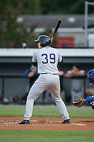 Austin Afenir (39) of the Pulaski Yankees at bat against the Burlington Royals at Burlington Athletic Park on August 6, 2015 in Burlington, North Carolina.  The Royals defeated the Yankees 1-0. (Brian Westerholt/Four Seam Images)