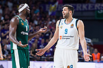 Real Madrid Felipe Reyes and Panathinaikos Chris Singleton during Turkish Airlines Euroleague Quarter Finals 4th match between Real Madrid and Panathinaikos at Wizink Center in Madrid, Spain. April 27, 2018. (ALTERPHOTOS/Borja B.Hojas)