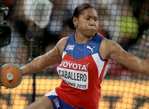 25.08.2015. Beijing, China.  Denia Caballero of Cuba in action during the women's discus final of the Beijing 2015 IAAF World Championships at the National Stadium, also known as Bird's Nest, in Beijing, China, 25 August 2015.