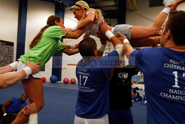 The UK cheerleaders practice at the Seaton Center on  Tuesday, Nov. 9, 2010. Photo by Britney McIntosh | Staff