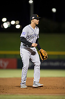 Salt River Rafters third baseman Josh Fuentes (19), of the Colorado Rockies organization, during an Arizona Fall League game against the Mesa Solar Sox at Sloan Park on October 16, 2018 in Mesa, Arizona. Salt River defeated Mesa 2-1. (Zachary Lucy/Four Seam Images)