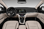 Stock photo of straight dashboard view of a 2018 Hyundai Elantra Limited 4 Door Sedan