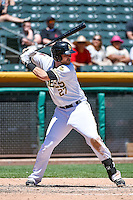 Jett Bandy (27) of the Salt Lake Bees at bat against the Fresno Grizzlies in Pacific Coast League action at Smith's Ballpark on June 14, 2015 in Salt Lake City, Utah.  (Stephen Smith/Four Seam Images)