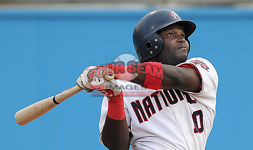 June 20, 2008: Leonard Davis of the Potomac Nationals, Carolina League affiliate of the Washington Nationals, prior to a game against the Frederick Keys at G. Richard Pfitzner Stadium in Woodbridge, Va. Photo by:  Tom Priddy/Four Seam Images