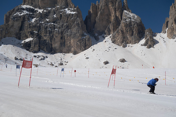 Beth ski racing at Col Rodella,Canazei, Dolomites, Italy,