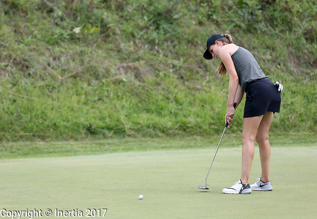 SIOUX FALLS, SD - AUGUST 31: Victoria Morgan rolls her birdie putt on the 7th green, her 16th hole, during the first round of the Great Life Challenge, Symetra Tour stop at Willow Run Thursday afternoon. (Photo by Dave Eggen/Inertia)