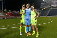 Bridgeview, IL - Wednesday August 16, 2017: Rumi Utsugi, Yuki Nagasato, Nahomi Kawasumi during a regular season National Women's Soccer League (NWSL) match between the Chicago Red Stars and the Seattle Reign FC at Toyota Park. The Seattle Reign FC won 2-1.