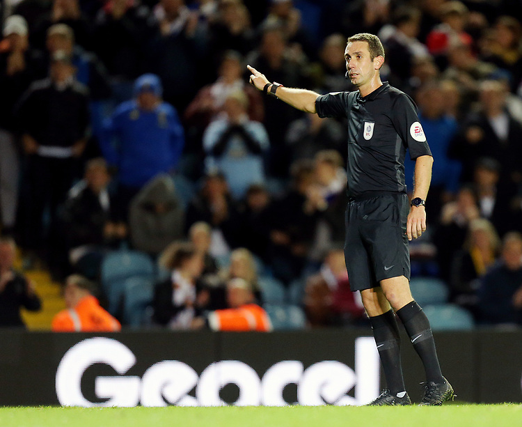 Referee David Coote<br /> <br /> Photographer Rich Linley/CameraSport<br /> <br /> The EFL Sky Bet Championship - Tuesday 1st October 2019  - Leeds United v West Bromwich Albion - Elland Road - Leeds<br /> <br /> World Copyright © 2019 CameraSport. All rights reserved. 43 Linden Ave. Countesthorpe. Leicester. England. LE8 5PG - Tel: +44 (0) 116 277 4147 - admin@camerasport.com - www.camerasport.com