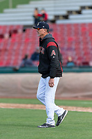 Kane County Cougars pitching coach Mike Parrot (21) during a Midwest League game against the Cedar Rapids Kernels at Northwestern Medicine Field on April 28, 2019 in Geneva, Illinois. Kane County defeated Cedar Rapids 3-2 in game one of a doubleheader. (Zachary Lucy/Four Seam Images)