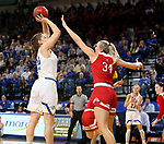 BROOKINGS, SD - FEBRUARY 22: Megan Bultsma #50 of the South Dakota State Jackrabbits shoots a jumper against Hannah Sjerven #34 of the South Dakota Coyotes Saturday at Frost Arena in Brookings, SD. (Photo by Dave Eggen/Inertia)