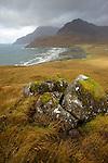 Vue sur les Cuillins (993 m).et la plage du Loch scavaigh. Skye island
