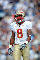 Sept. 19, 2009; Provo, UT, USA; Florida State Seminoles wide receiver (8) Taiwan Easterling against the BYU Cougars at LaVell Edwards Stadium. Florida State defeated BYU 54-28. Mandatory Credit: Mark J. Rebilas-