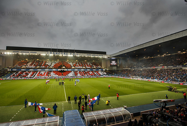 Rangers fans at Ibrox Stadium pay tribute to the fallen on Remembrance weekend