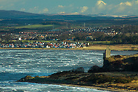 Ayr and Greenan Tower from the Heads of Ayr, Ayr, Ayrshire<br /> <br /> Copyright www.scottishhorizons.co.uk/Keith Fergus 2011 All Rights Reserved