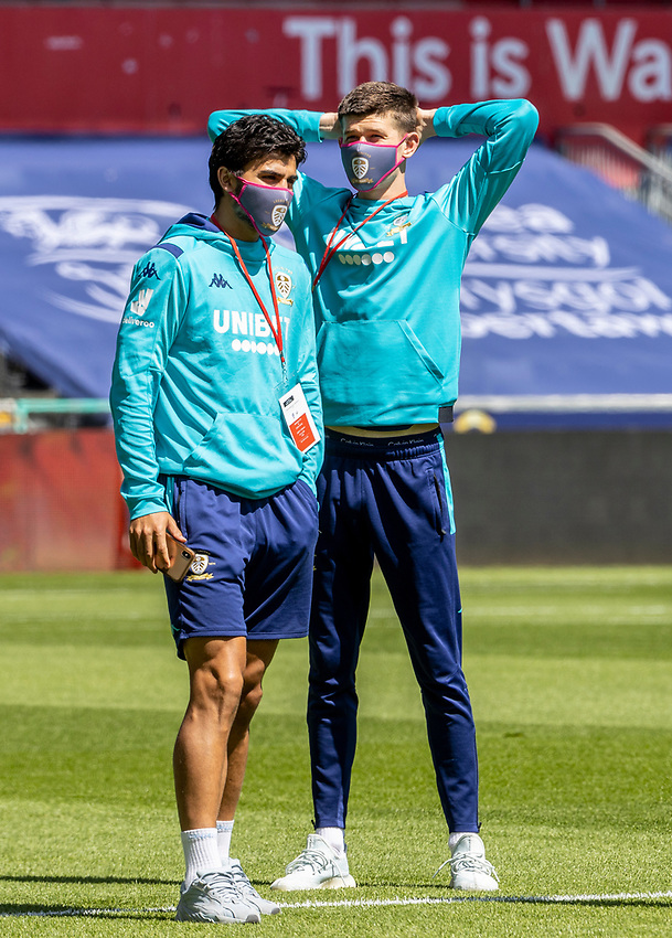 Leeds United's players inspecting the pitch before the match <br /> <br /> Photographer Andrew Kearns/CameraSport<br /> <br /> The EFL Sky Bet Championship - Swansea City v Leeds United - Sunday 12th July 2020 - Liberty Stadium - Swansea<br /> <br /> World Copyright © 2020 CameraSport. All rights reserved. 43 Linden Ave. Countesthorpe. Leicester. England. LE8 5PG - Tel: +44 (0) 116 277 4147 - admin@camerasport.com - www.camerasport.com