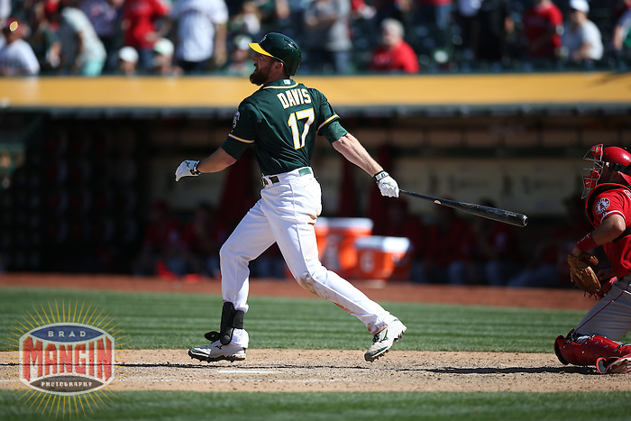 OAKLAND, CA - APRIL 30:  Ike Davis #17 of the Oakland Athletics bats against the Los Angeles Angels during the game at O.co Coliseum on Thursday, April 30, 2015 in Oakland, California. Photo by Brad Mangin