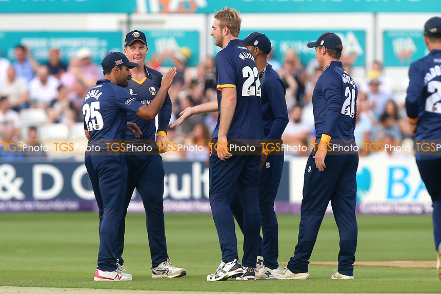 Paul Walter of Essex is congratulated by his team mates after taking the wicket of Mark Stoneman during Essex Eagles vs Surrey, NatWest T20 Blast Cricket at The Cloudfm County Ground on 7th July 2017