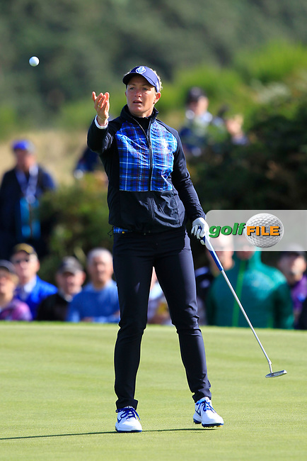 Suzann Pettersen Team Europe on the 7th green during Day 1 Fourball at the Solheim Cup 2019, Gleneagles Golf CLub, Auchterarder, Perthshire, Scotland. 13/09/2019.<br /> Picture Thos Caffrey / Golffile.ie<br /> <br /> All photo usage must carry mandatory copyright credit (© Golffile | Thos Caffrey)
