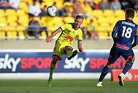 Phoenix's David Ball crosses during the A-League football match between Wellington Phoenix and Central Coast Mariners at Westpac Stadium in Wellington, New Zealand on Saturday, 4 January 2020. Photo: Dave Lintott / lintottphoto.co.nz