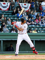 Infielder Mookie Betts (7) of the Greenville Drive in a game against the Charleston RiverDogs on Opening Day, Friday, April 5, 2013, at Fluor Field at the West End in Greenville, South Carolina. (Tom Priddy/Four Seam Images)