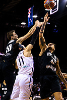 New Zealand's Tom Abercrombie (left), Korea's Heejong Yang and New Zealand's Issac Fotu compete for the ball during the FIBA World Cup qualifier between the New Zealand Tall Blacks and South Korea at TSB Bank Arena in Wellington, New Zealand on Thursday, 23 November 2017. Photo: Dave Lintott / lintottphoto.co.nz