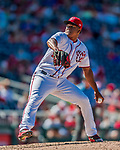 30 July 2017: Washington Nationals pitcher Enny Romero on the mound in the 7th inning against the Colorado Rockies at Nationals Park in Washington, DC. The Rockies defeated the Nationals 10-6 in the second game of their 3-game weekend series. Mandatory Credit: Ed Wolfstein Photo *** RAW (NEF) Image File Available ***