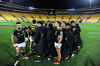The Lions huddle after the Mitre 10 Cup rugby match between Wellington Lions and Auckland at Westpac Stadium in Wellington, New Zealand on Thursday, 4 October 2018. Photo: Dave Lintott / lintottphoto.co.nz