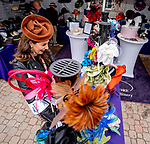 November 2, 2018: Miss Kentucky, Kate Bouchard, shops for hats at the track on Breeders' Cup World Championship Friday at Churchill Downs on November 2, 2018 in Louisville, Kentucky. Scott Serio/Eclipse Sportswire/CSM