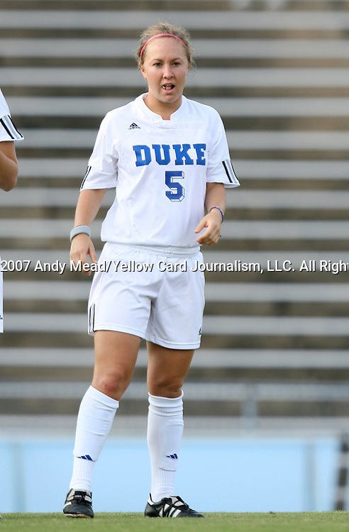 07 September 2007: Duke's Jane Alukonis. The Duke University Blue Devils defeated the Yale University Bulldogs 1-0 at Fetzer Field in Chapel Hill, North Carolina in an NCAA Division I Women's Soccer game, and part of the annual Nike Carolina Classic tournament.