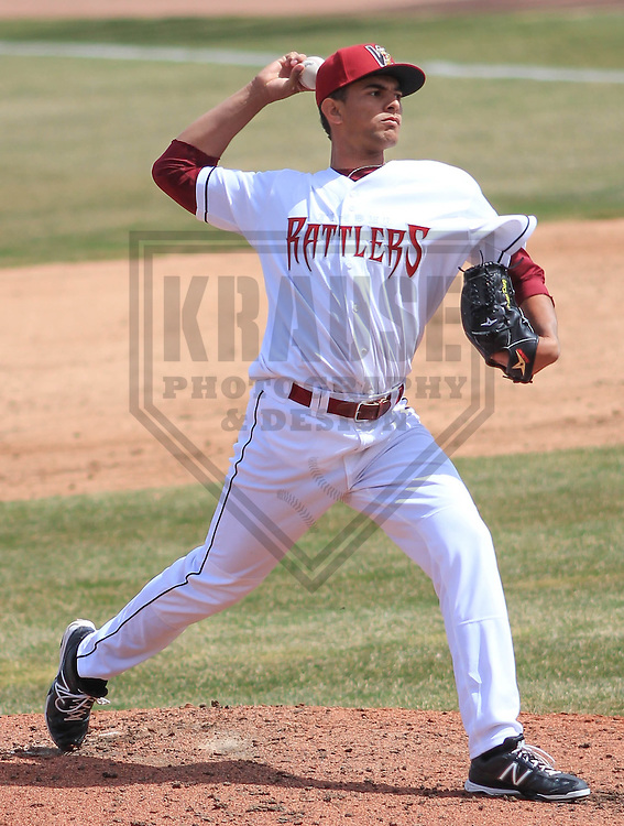 APPLETON - April 2015:  Wisconsin Timber Rattlers pitcher Victor Diaz (30) during a game against the Peoria Chiefs on April 14th, 2015 at Fox Cities Stadium in Appleton, Wisconsin. (Photo Credit: Brad Krause)