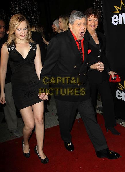 "Danielle Lewis, Jerry Lewis, SanDee Pitnick Lewis.Premiere Of Encore's ""Method To The Madness Of Jerry Lewis"" Held At The Paramount Studios lot, Los Angeles, California, USA..December 7th, 2011.full length black suit dress red shirt daughter father dad married husband wife mother mom mum family holding hands.CAP/ADM/KB.©Kevan Brooks/AdMedia/Capital Pictures."