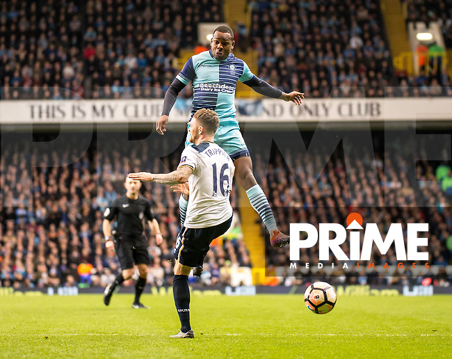 Myles Weston of Wycombe Wanderers and Kieran Trippier of Tottenham Hotspur during the FA Cup 4th round match between Tottenham Hotspur and Wycombe Wanderers at White Hart Lane, London, England on the 28th January 2017. Photo by Liam McAvoy.