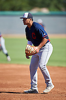 Cleveland Indians Ulysses Cantu (23) during an Instructional League game against the Los Angeles Dodgers on October 10, 2016 at the Camelback Ranch Complex in Glendale, Arizona.  (Mike Janes/Four Seam Images)