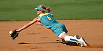 Australia's shortstop #6 Natalie Ward dives in vain for a ball hit by US' Leah Amico in the First Inning of the US Gold Medal win over Australia 5-1 at the 2004 Summer Olympic Games in Athens,Greece on Monday, August 23rd, 2004...         DENVER POST PHOTO BY STEVE DYKES