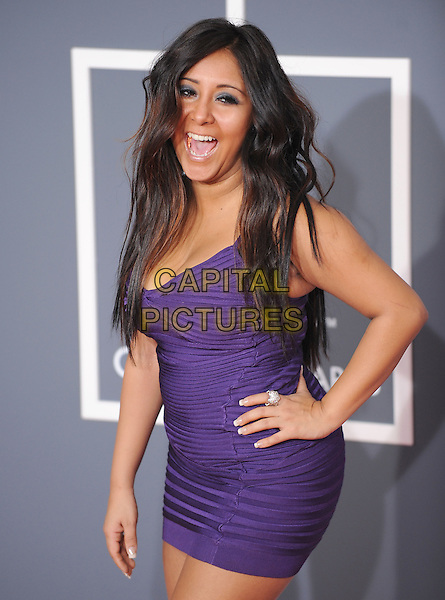 NICOLE aka Snooki of Jersey Shore .Arrivals at the 52nd Annual GRAMMY Awards held at The Staples Center in Los Angeles, California, USA..January 31st, 2010.grammys half length purple dress hand on hip mouth open laughing  .CAP/RKE/DVS.©DVS/RockinExposures/Capital Pictures