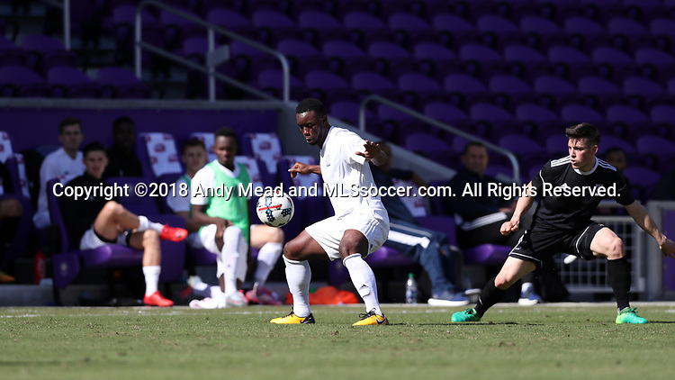 Orlando, Florida - Monday January 15, 2018: Jason Wright and Lucas Stauffer. Match Day 2 of the 2018 adidas MLS Player Combine was held Orlando City Stadium.