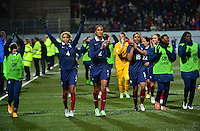 Lorient, France. - Sunday, February 8, 2015:  Joie France, Laure Boulleau, Laura Georges, Wendie Renard, Marie-Laure Delie, Kadidiatou Diani, Griedge Mbock Bathy Nka  of France. France defeated the USWNT 2-0 during an international friendly at the Stade du Moustoir.