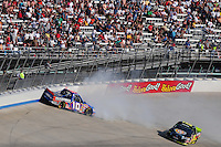 May 30, 2008; Dover, DE, USA; Nascar Craftsman Truck Series driver Brendan Gaughan crashes during the AAA Insurance 200 at Dover International Speedway. Mandatory Credit: Mark J. Rebilas-US PRESSWIRE.