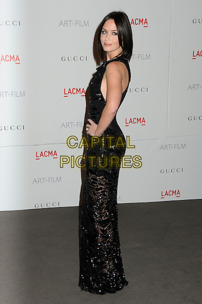 Emily Blunt.The Inaugural Art and Film Gala held at LACMA in Los Angeles, California, USA..November 5th, 2011.full length black dress sleeveless clutch bag sheer side hand on hip.CAP/ADM/BP.©Byron Purvis/AdMedia/Capital Pictures.