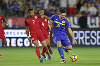 Carson, CA - Sunday January 28, 2018: Justin Morrow, Goran Zakarić during an international friendly between the men's national teams of the United States (USA) and Bosnia and Herzegovina (BIH) at the StubHub Center.